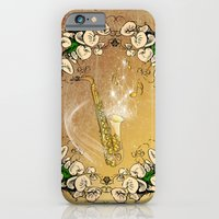iPhone Cases featuring Saxophone with flowers by nicky2342