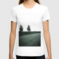 Blurry Trees Womens Fitted Tee White SMALL