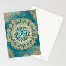 GOLD BOHOCHIC MANDALA IN GREENS Stationery Cards