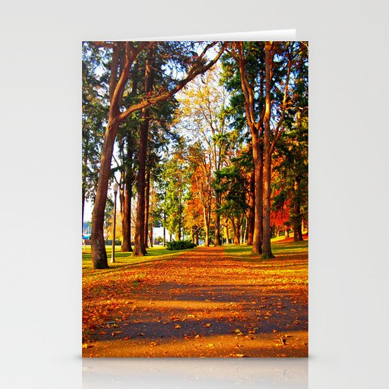 Autumn pathway Stationery Card