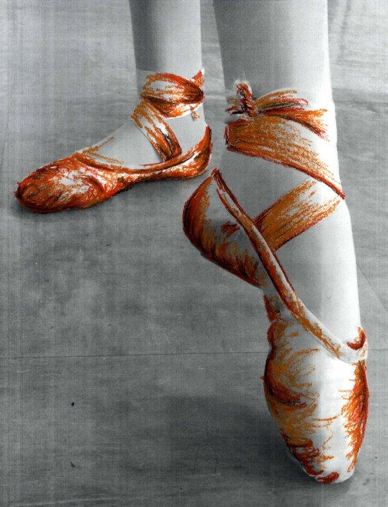 Ballet Shoe Orange Art Print