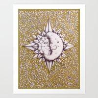 Gold Soleil Et Luna Art Print