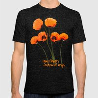Oriental Poppies  Mens Fitted Tee Tri-Black SMALL