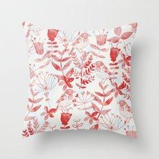 Watercolor Botanical Garden III Throw Pillow