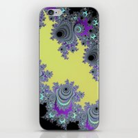 Asymmetrical Fractal in Yellow, Black and Purple iPhone & iPod Skin