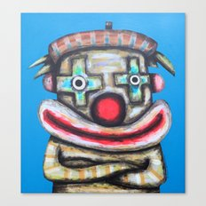 Clown with small advertisement Canvas Print