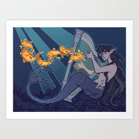 The Harp Player Art Print