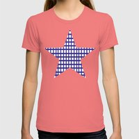 LINES In INDIGO Womens Fitted Tee Pomegranate SMALL