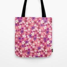 Retro Pink Flowers Tote Bag