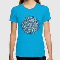 Zen Mandala (Serenity) Womens Fitted Tee Teal SMALL