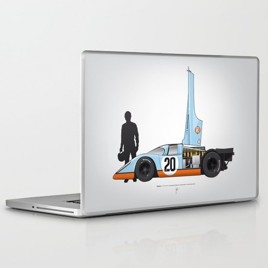 Outline Series N.º4, Steve McQueen, Porsche 917, Le Mans movie 1971 Laptop & iPad Skin