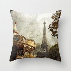 The Carousel and the Eiffel Tower - Paris Throw Pillow