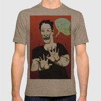Not a Zombie Mens Fitted Tee Tri-Coffee SMALL