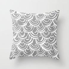 monochrome scallop scales Throw Pillow