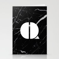 Black Marble - Alphabet Q Stationery Cards