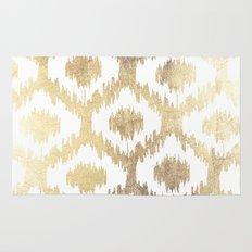 Modern white hand drawn ikat pattern faux gold  Rug