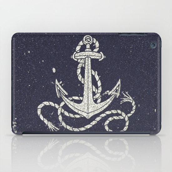 Navy Blue Nautical White Anchor for Sailor Texture iPad Case