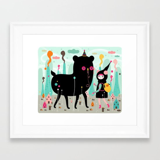 A lovely day at the tiny world Framed Art Print