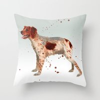 Brittany Spaniel, dog painting, Spaniel watercolor Throw Pillow