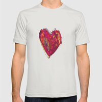 Funky Heart Mens Fitted Tee Silver SMALL