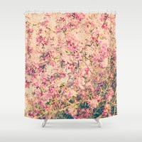 Vintage Pink Crabapple Tree Blossoms in the Sun Shower Curtain