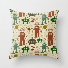 Robot Invasion! Throw Pillow