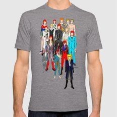 Bowie Doodle Mens Fitted Tee Tri-Grey SMALL