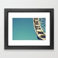 The sky, the moon and the Ferris Wheel Framed Art Print