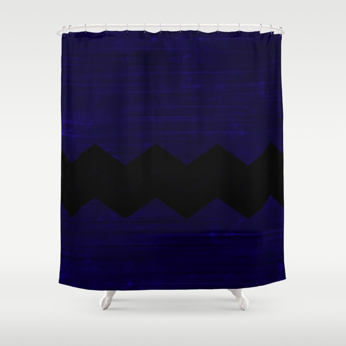 Black Blue Chevron Shower Curtain By Kat Mun Society6