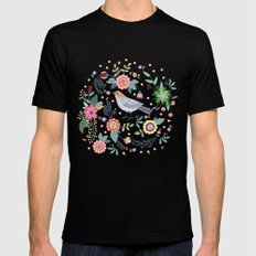 Pattern with beautiful bird in flowers Mens Fitted Tee Black SMALL