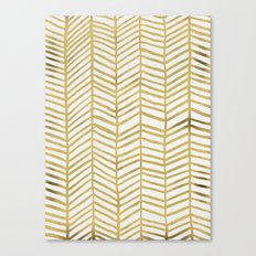 Gold Herringbone Canvas Print