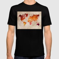 Red World Map Mens Fitted Tee Black SMALL