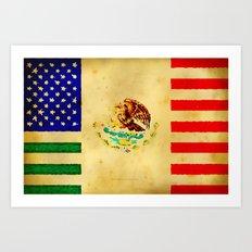 MEXICAN AMERICAN FLAG - 017 Art Print