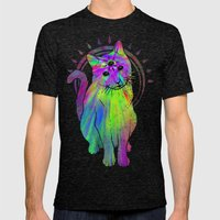 Psychic Psychedelic  Cat Mens Fitted Tee Tri-Black SMALL