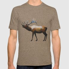 The Rocky Mountain Elk Mens Fitted Tee Tri-Coffee SMALL