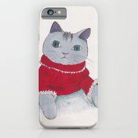 iPhone & iPod Case featuring Cozy Cat by AKABETSY