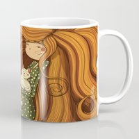 Girl And White Cat Mug
