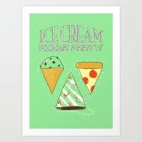 Ice Cream Pizza Party Art Print