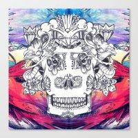 Sugar Skull Splash Canvas Print