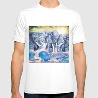 Elephants In Crashing Wa… Mens Fitted Tee White SMALL