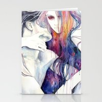 hair Stationery Cards featuring wakeful by agnes-cecile