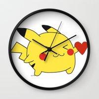 Pikachu In Love  Wall Clock