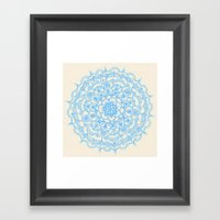 Pale Blue Pencil Pattern - hand drawn lace mandala Framed Art Print