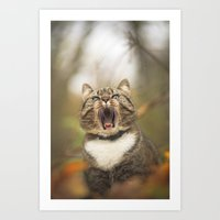 Cat Roar  Art Print