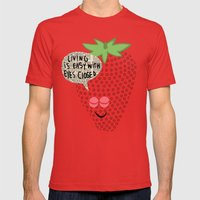Strawberry Fields Mens Fitted Tee Red SMALL