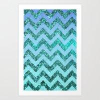 glittery ocean chevron Art Print