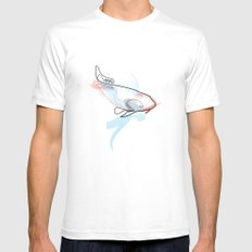 One line Koi Fish Mens Fitted Tee White SMALL