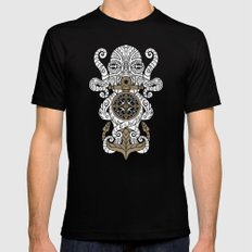 Octopus anchor and compass in tribal style SMALL Mens Fitted Tee Black