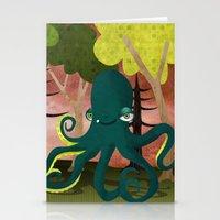 octopus vs sasquatch Stationery Cards