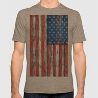 USA Vintage Wood Mens Fitted Tee Tri-Coffee SMALL